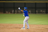 AZL Cubs right fielder Jonathan Sierra (22) celebrates after a two-RBI double in the ninth inning against the AZL Giants on September 7, 2017 at Scottsdale Stadium in Scottsdale, Arizona. AZL Cubs defeated the AZL Giants 13-3 to win the Arizona League Championship Series two games to one. (Zachary Lucy/Four Seam Images)