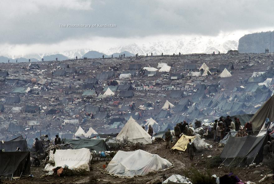 Irak 199  Les Kurdes campant à la frontiere Irak-Turquie  Iraq 1991  Kurdish refugees on the border Iraq-Turkey and tents
