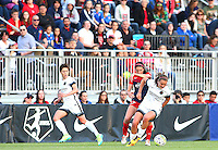 Boyds, MD - Saturday May 07, 2016: Portland Thorns FC midfielder Lindsey Horan (7) turns away from Washington Spirit forward Cali Farquharson (17) during a regular season National Women's Soccer League (NWSL) match at Maureen Hendricks Field, Maryland SoccerPlex. Washington Spirit tied the Portland Thorns 0-0.