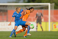 Leslie Osborne (12) of the Boston Breakers and Rosana (11) of Sky Blue FC battle for the ball. Sky Blue FC and the Boston Breakers played to a 0-0 tie during a Women's Professional Soccer (WPS) match at Yurcak Field in Piscataway, NJ, on May 29, 2010.