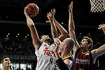 Real Madrid´s Felipe Reyes and Barcelona´s Pleiss during Liga Endesa Final first match at Palacio de los Deportes in Madrid, Spain. June 19, 2015. (ALTERPHOTOS/Victor Blanco)