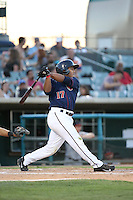 Ruben Castro (17) of the Lancaster JetHawks bats during a game against the Lake Elsinore Storm at The Hanger on August 29, 2015 in Lancaster, California. Lancaster defeated Lake Elsinore 7-4. (Larry Goren/Four Seam Images)