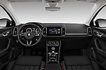 Stock photo of straight dashboard view of a 2018 Skoda Karoq Style 5 Door SUV