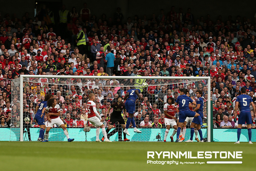 Antonio Rüdiger of Chelsea scores a goal during the International Champions Cup Game between Arsenal and Chelsea at the Aviva Stadium, Dublin. Photo By Michael P Ryan.