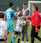 11.01.2020 Rangers v Lokomotiv Tashkent, Sevens Stadium, Dubai:<br /> Steven Gerrard at full time