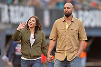 San Diego, CA - Sunday January 21, 2018: Hope Solo, Jerramy Stevens prior to an international friendly between the women's national teams of the United States (USA) and Denmark (DEN) at SDCCU Stadium.