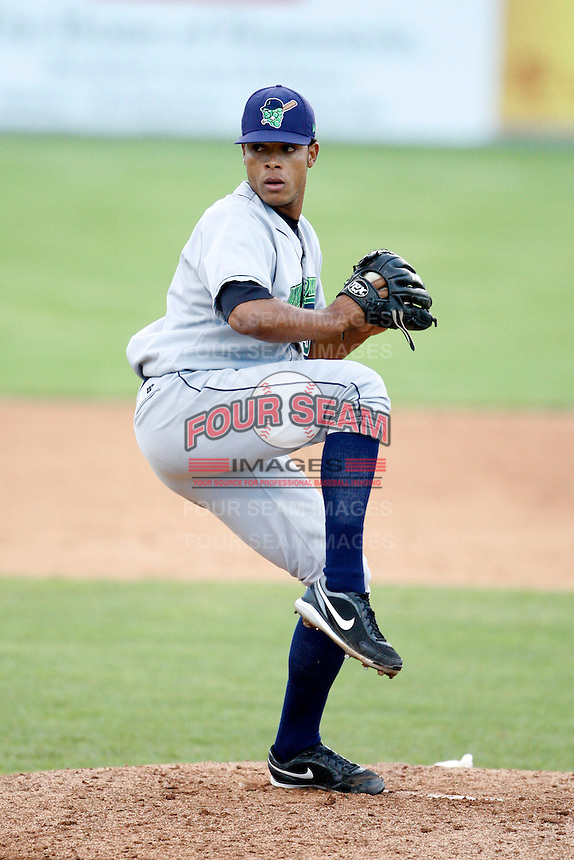July 3, 2009:  Pitcher Ramon Benjamin of the Jamestown Jammers delivers a pitch during a game at Dwyer Stadium in Batavia, NY.  The Jammers are the NY-Penn League Short-Season Class-A affiliate of the Florida Marlins.  Photo by:  Mike Janes/Four Seam Images