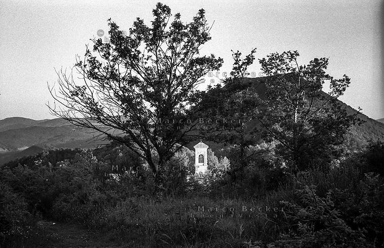 """Grizzana Morandi (Bologna). Santuario sul monte """"sacro"""" Montovolo, un tempo luogo di culto sin dall'età pagana --- Grizzana Morandi (Bologna). Sanctuary on the """"sacred"""" mountain Montovolo, once a place of worship since the pagan age"""