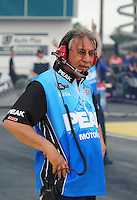 Mar. 9, 2012; Gainesville, FL, USA; NHRA crew member for top fuel dragster driver T.J. Zizzo during qualifying for the Gatornationals at Auto Plus Raceway at Gainesville. Mandatory Credit: Mark J. Rebilas-