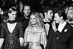 """Cannes Film Festival 2018 - 71st edition - Day 9 - May 16 in Cannes, on May 17, 2018; screening of the film """"Un couteau dans le coeur"""";  (FromL) French actress Kate Moran, French actress Vanessa Paradis and French actor Nicolas Maury  . © Pierre Teyssot"""