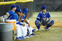 Burlington Royals catcher Michael Emodi (29) watches the action from the bullpen during the game against the Kingsport Mets at Burlington Athletic Stadium on July 27, 2018 in Burlington, North Carolina. The Mets defeated the Royals 8-0.  (Brian Westerholt/Four Seam Images)