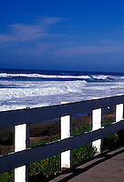 View of Pacific ocean and fence<br />