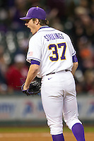 LSU Tigers pitcher Jesse Stallings (37) screams after record the final out in the NCAA baseball game against the Houston Cougars on March 6, 2015 at Minute Maid Park in Houston, Texas. LSU defeated Houston 4-2. (Andrew Woolley/Four Seam Images)