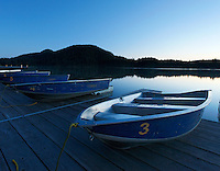 Row boats on dock early morning, Moran State Park Beach, Cascade Lake, Orcas Island, Washington, USA