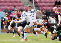 29th May 2021; Twickenham Stoop, London, England; English Premiership Rugby, Harlequins versus Bath; Marcus Smith of Harlequins misses his tackle on Ben Spencer of Bath