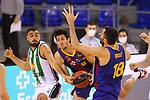 League ACB-ENDESA 2020/2021.Game 15.<br /> FC Barcelona vs Club Joventut Badalona: 88-74.<br /> Albert Ventura, Leandro Bolmaro & Pierre Oriola.