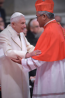 Tongan Cardinal Soane Patita Paini Mafi.Pope Benedict XVI,during a consistory for the creation of new Cardinals at St. Peter's Basilica in Vatican.February 14, 2015