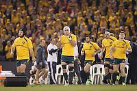 MELBOURNE, 29 JUNE 2013 - The Australian Wallabies enter the stadium for the start of the Second Test match between the Australian Wallabies and the British & Irish Lions at Etihad Stadium on 29 June 2013 in Melbourne, Australia. (Photo Sydney Low / sydlow.com)