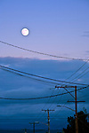 Rare 'blue moon' over the Olympic Penninsula town of Port Townsend, WA.  Known for Victorian architecture, Port Townsend is a historic Northwest Salish Sea port. Olympic Peninsula