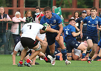 Saturday 5th September 2021<br /> <br /> Andrew Sparrow is tackled by Josh Stevens during U18 Schools inter-pro between Ulster Rugby and Leinster at Newforge Country Club, Belfast, Northern Ireland. Photo by John Dickson/Dicksondigital