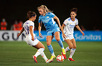 31st August 2021; Estadio Afredo Di Stefano, Madrid, Spain; Women's Champions League, Real Madrid CF versus Manchester City Football Club; Alex Greenwood (Manchester City) controls the ball in front of Nahikari and Esther Gonzalez (Real Madrid)