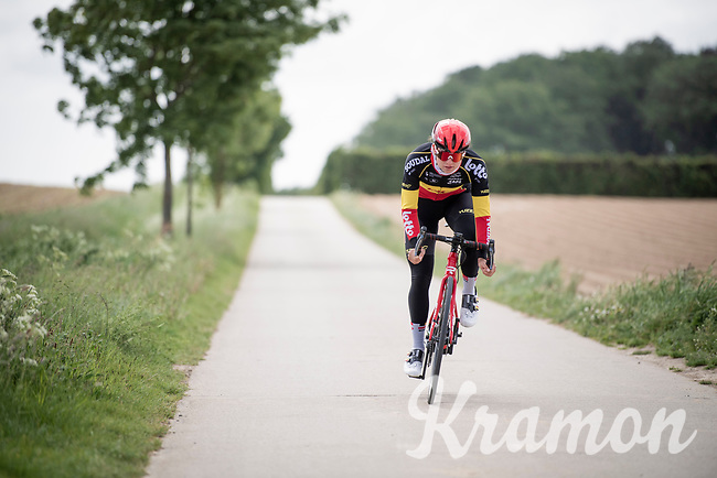 Belgian champion Jesse Vandenbulcke (BEL/Lotto Soudal Ladies) training on home roads in Flanders during the 2020 lockdown (due to the COVID19/corona-virus)<br /> <br /> ©kramon