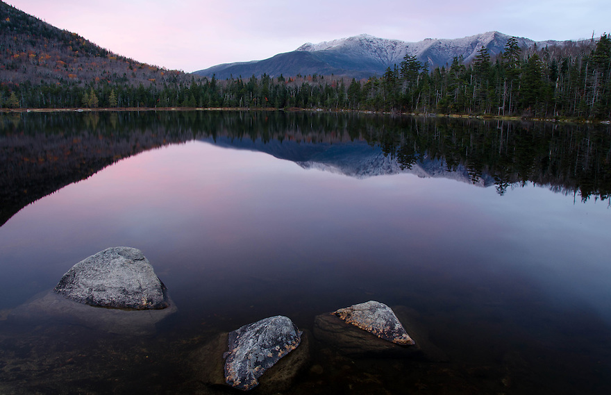 The subtle hues of sunset do little to warm the scene at Lonesome Lake.