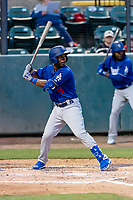 Rancho Cucamonga Quakes shortstop Jeter Downs (15) during a California League game against the Visalia Rawhide on April 8, 2019 in Visalia, California. Rancho Cucamonga defeated Visalia 4-1. (Zachary Lucy/Four Seam Images)
