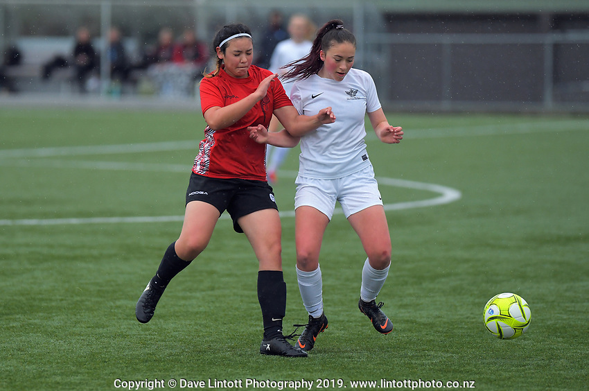 Action from the 2019 Grant Jarvis NZ Secondary Schools Girls' 1st XI football tournament semifinal between Hutt Valley High School and Gisborne Girls' High School at Memorial Park in Petone, New Zealand on Thursday, 5 September 2018. Photo: Dave Lintott / lintottphoto.co.nz