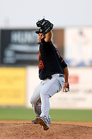 Carlos Gonzalez #18 of the Bakersfield Blaze pitches against the Lancaster JetHawks at The Hanger on July 2, 2013 in Adelanto, California. Lancaster defeated Bakersfield, 12-1. (Larry Goren/Four Seam Images)