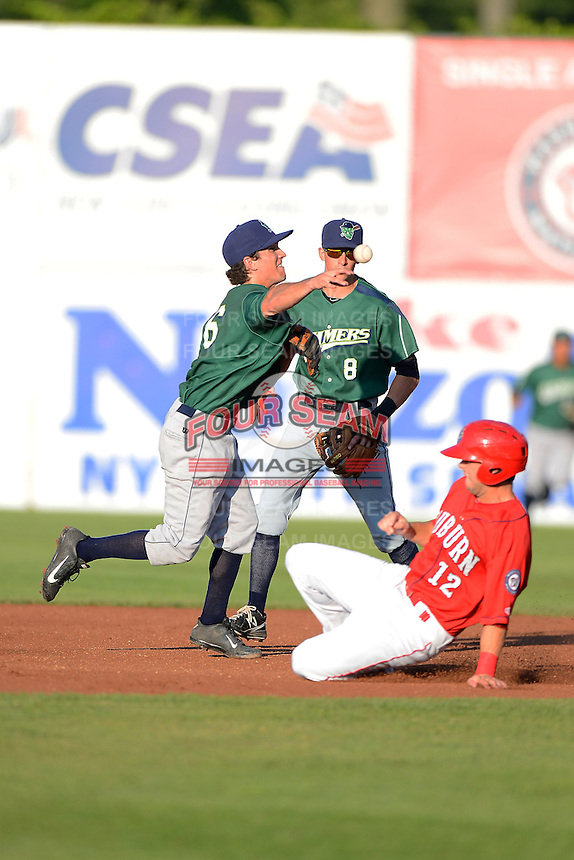 Jamestown Jammers shortstop Adam Frazier #6 attempts to turn a double play as Matt Foat #12 slides in and Michael Fransoso #8 looks on during a game against the Auburn Doubledays on July 4, 2013 at Falcon Park in Auburn, New York.  Jamestown defeated Auburn 5-4.  (Mike Janes/Four Seam Images)