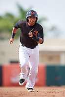 GCL Orioles designated hitter Jose Lizarraga (32) runs the bases during the first game of a doubleheader against the GCL Twins on August 1, 2018 at CenturyLink Sports Complex Fields in Fort Myers, Florida.  GCL Twins defeated GCL Orioles 7-6 in the completion of a suspended game originally started on July 31st, 2018.  (Mike Janes/Four Seam Images)