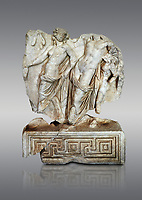 Roman Sebasteion relief  sculpture of Dionysus Drunk Aphrodisias Museum, Aphrodisias, Turkey. <br /> <br /> A prancing woodland nymph leads drunken Dionysus who supports himself languidly on a small satyr. This is an image of Dionysian enjoyment and pleasure, hellenistic in style and fluently designed