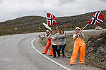 Local fans wait for the riders during Stage 2 of the 2018 Artic Race of Norway, running 195km from Tana to Kjøllefjord, Norway. 17th August 2018. <br /> <br /> Picture: ASO/Rasmus Kongsore | Cyclefile<br /> All photos usage must carry mandatory copyright credit (© Cyclefile | ASO/Rasmus Kongsore)