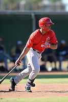 Los Angeles Angels outfielder Nataniel Delgado (17) during an Instructional League game against the Milwaukee Brewers on October 11, 2013 at Tempe Diablo Stadium Complex in Tempe, Arizona.  (Mike Janes/Four Seam Images)