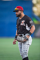 Salem-Keizer Volcanoes first baseman Robinson Medrano (7) during a Northwest League game against the Hillsboro Hops at Ron Tonkin Field on September 1, 2018 in Hillsboro, Oregon. The Salem-Keizer Volcanoes defeated the Hillsboro Hops by a score of 3-1. (Zachary Lucy/Four Seam Images)