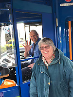 BNPS.co.uk (01202 558833)<br /> Pic: PennyIbbott/BNPS<br /> <br /> Pictured: Penny with a bus driver in March last year.<br /> <br /> Second time lucky...<br /> <br /> An intrepid pensioner has restarted her mission to travel around England on her free bus for charity 18 months after she had to cancel due to Covid.<br /> <br /> Grandmother Penny Ibbott was 16 days into her journey in March last year when Boris Johnson announced that people should stop any non-essential travel as the pandemic hit.<br /> <br /> The 75-year-old was devastated to call it off after months of planning, but has not let it beat her and has now set off to do the whole route again.