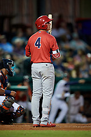 Peoria Chiefs third baseman Nolan Gorman (4) at bat during a game against the Bowling Green Hot Rods on September 15, 2018 at Bowling Green Ballpark in Bowling Green, Kentucky.  Bowling Green defeated Peoria 6-1.  (Mike Janes/Four Seam Images)