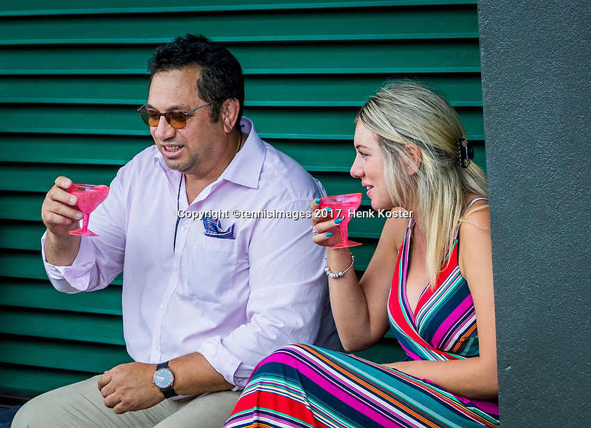 London, England, 8 th July, 2017, Tennis,  Wimbledon, Ambiance, enjoying a gas of champagne<br /> Photo: Henk Koster/tennisimages.com