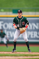 Great Lakes Loons first baseman Nick Dean (10) during the first game of a doubleheader against the Fort Wayne TinCaps on May 11, 2016 at Parkview Field in Fort Wayne, Indiana.  Great Lakes defeated Fort Wayne 3-0.  (Mike Janes/Four Seam Images)