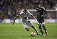 Javid Tagiyev of Qarabag FK on the ball under pressure from Andros Townsend of Tottenham Hotspur during the UEFA Europa League match between Tottenham Hotspur and Qarabag FK at White Hart Lane, London, England on 17 September 2015. Photo by Andy Rowland.