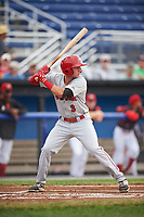 Auburn Doubledays second baseman Branden Boggetto (3) at bat during a game against the Batavia Muckdogs on July 6, 2017 at Dwyer Stadium in Batavia, New York.  Auburn defeated Batavia 4-3.  (Mike Janes/Four Seam Images)