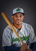 11 June 2019: Vermont Lake Monsters catcher Jorge Gordon poses for a portrait on Photo Day at Centennial Field in Burlington, Vermont. The Lake Monsters are the Single-A minor league affiliate of the Oakland Athletics and play a short season in the NY Penn League Stedler Division. Mandatory Credit: Ed Wolfstein Photo *** RAW (NEF) Image File Available ***