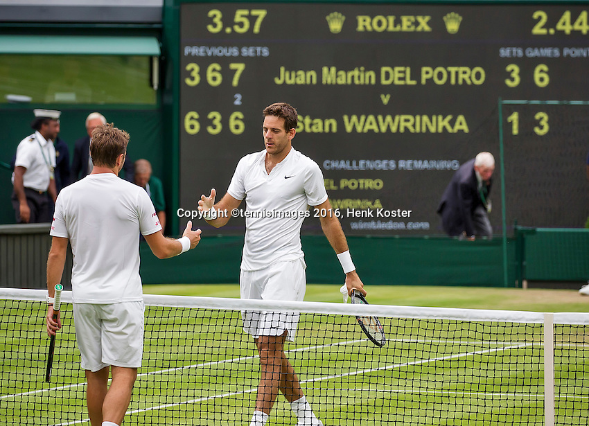 London, England, 01 July, 2016, Tennis, Wimbledon, Juan Martin Del Potro (ARG) shakes hands after defeating Stanislas Wawrinka (SUI) (L)<br /> Photo: Henk Koster/tennisimages.com