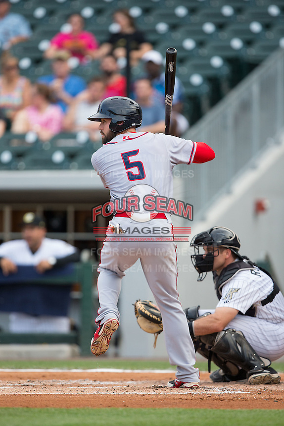 Jason Martinson (5) of the Syracuse Chiefs at bat against the Charlotte Knights at BB&T BallPark on June 1, 2016 in Charlotte, North Carolina.  The Knights defeated the Chiefs 5-3.  (Brian Westerholt/Four Seam Images)