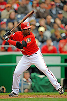 13 April 2008: Washington Nationals' outfielder Lastings Milledge in action against the Atlanta Braves at Nationals Park, in Washington, DC. The Nationals ended their 9-game losing streak by defeating the Braves 5-4 in the last game of their 3-game series...Mandatory Photo Credit: Ed Wolfstein Photo