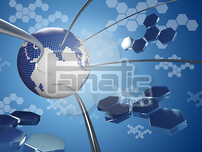 Illustrative image of globe with wires representing globalization