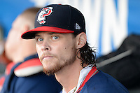 Pawtucket Red Sox pitcher Clay Buchholz (11), on rehab assignment from the Boston Red Sox, in the dugout during an International League playoff game against the Rochester Red Wings on September 5, 2013 at Frontier Field in Rochester, New York.  Pawtucket defeated Rochester 7-2.  (Mike Janes/Four Seam Images)