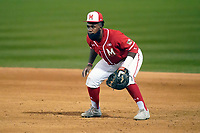 First baseman Maxwell Costes (4) of the Maryland Terrapins plays defense in a game against the Michigan State Spartans on Friday, March 5, 2021, at Fluor Field at the West End in Greenville, South Carolina. Michigan State won, 6-0. (Tom Priddy/Four Seam Images)