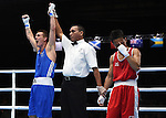 Wales Ashley Williams v Muhamad Fuad Mohd Redzuan<br /> <br /> Photographer Ian Cook/Sportingwales<br /> <br /> 20th Commonwealth Games - Boxing -  Day 7 - Wednesday 30th July 2014 - Glasgow - UK